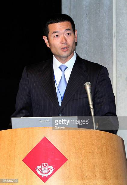 Former Yomiuri Giants and Pittsburgh Pirates Pitcher Masumi Kuwata presents his research results during a conference at Waseda University on March 6...