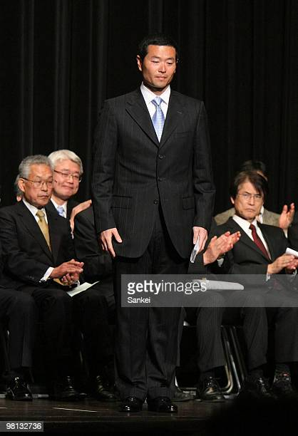 Former Yomiuri Giants and Pittsburgh Pirates pitcher Masumi Kuwata attends the commencement ceremony of Waseda University Postgraduate School at...