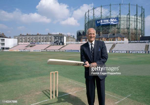 Former Yorkshire and England cricketer Sir Leonard Hutton celebrates the 50th anniversary of his record innings of 364 runs against Australia at The...
