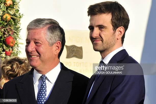 Former Yugoslav Crown Prince Alexander and his son arrrive for the wedding of former Prince Nicolas of Greece and Tatiana Blatnik on the island of...