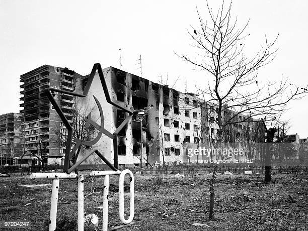 Former Yugoslavia Croatia the housing estate of Borovo the industrial town In the foreground the hammer and sickle and the name of Yugoslavia hero...