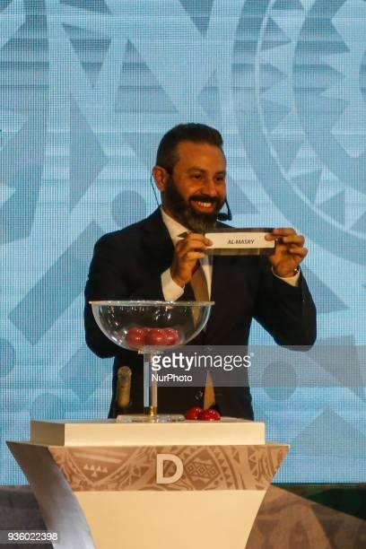 Former Zamalek midfielder Hazem Emam assist CAF Deputy General Secretary Anthony Baffoe to conduct the draw on Wednesday 21 March 2018 in Cairo Egypt
