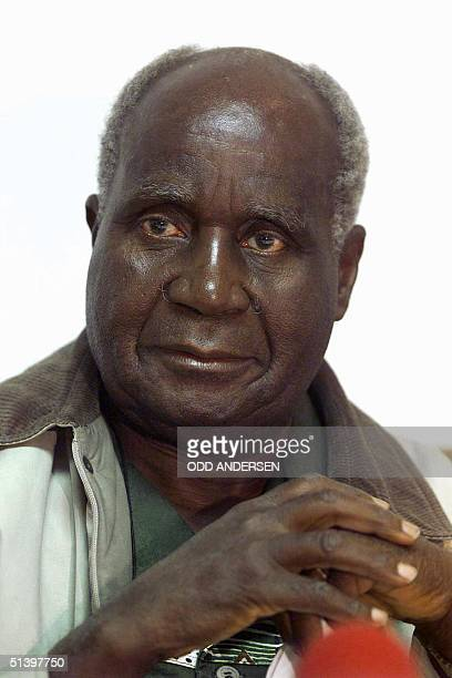 Former Zambian President Dr Kenneth Kaunda at a press conference 20 April 1999 in Johannesburg Kaunda declared 27 March 2000 to the BBC that he was...