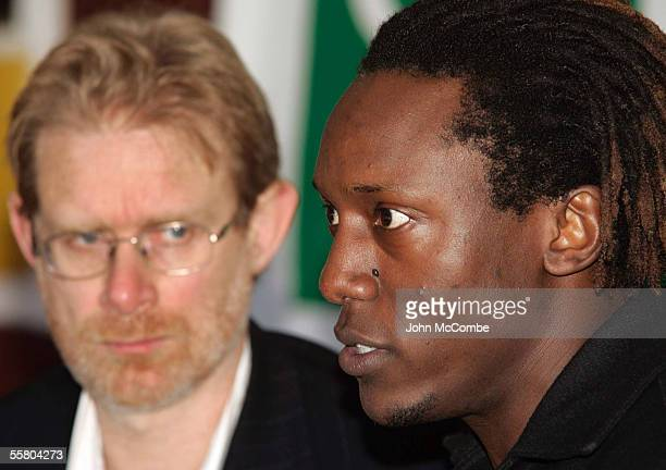 Former Zimbabwean cricketer Henry Olonga speaks at a press conference in Christchurch, New Zealand, Tuesday July 12th 2005, as Green Party Coleader...