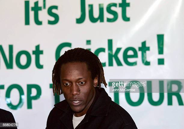 Former Zimbabwean cricketer Henry Olonga speaks at a press conference in Christchurch, New Zealand, Tuesday July 12th 2005. The Green Party brought...