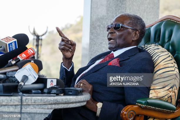 Former Zimbabwean President Robert Mugabe addresses the media on July 29 2018 during a surprise press conference at his residence Blue Roof in Harare...
