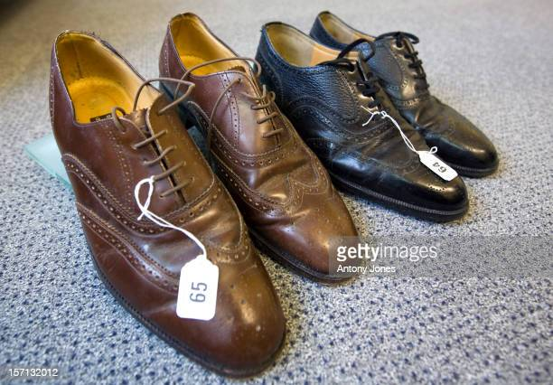 Formerly The Property Of Ronnie Kray A Pair Of Brown And Black Leather Brogue Shoes Are Displayed As Personal Belongings Of The Notorious East End...
