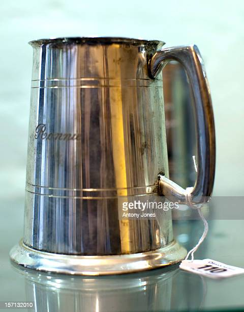 Formerly The Property Of Ronnie Kray A Silver Plated Tankard Engraved With His Name Is Displayed As Personal Belongings Of The Notorious East End...