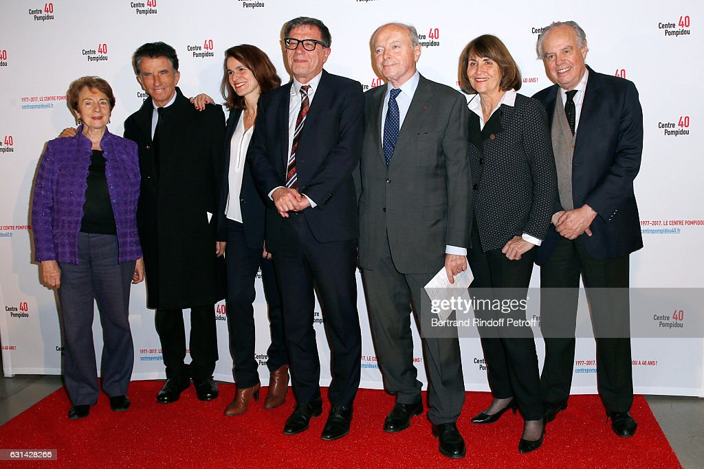 Formers Minister of Culture Catherine Tasca, Jack Lang, Aurelie Filippetti, Jacques Toubon, Christine Albanel and Frederic Mitterrand attend the celebration of the 40th Anniversary of the Centre Pompidou on January 10, 2017 in Paris, France.