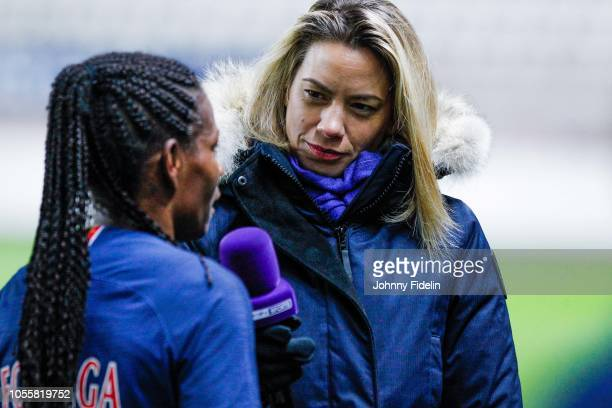 Formiga is interviewed by Anne Laure Bonnet Bein Sport during the UEFA Women's Champions League match between Paris Saint Germain and Linkopings FC...