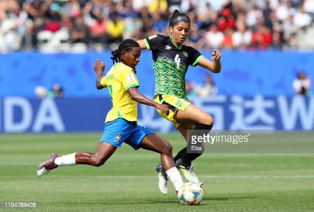 Formiga of Brazil is challenged by Chantelle Swaby of Jamaica during the 2019 FIFA Women's World Cup France group C match between Brazil and Jamaica...