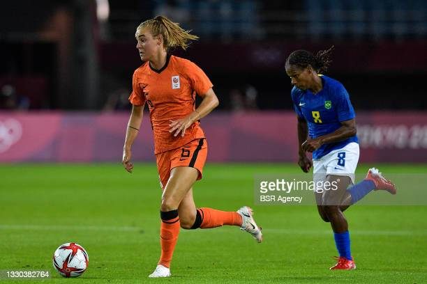Formiga of Brazil, Jill Roord of the Netherlands during the Tokyo 2020 Olympic Football Tournament match between Netherlands and Brazil at Miyagi...