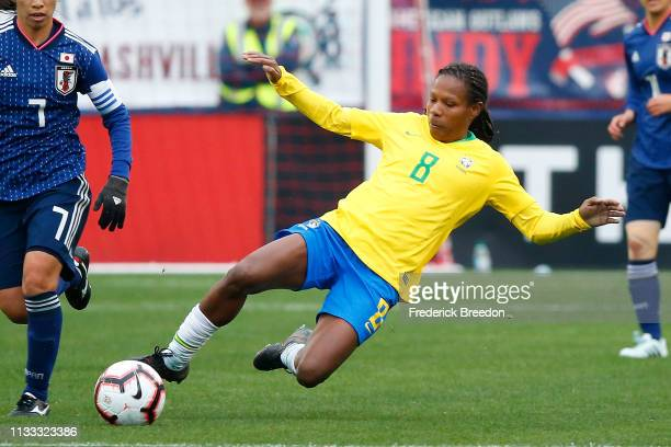 Formiga of Brazil plays during the 2019 SheBelieves Cup match between Brazil and Japan at Nissan Stadium on March 2 2019 in Nashville Tennessee