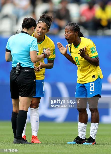 Formiga of Brazil reacts after being shown a yellow card during the 2019 FIFA Women's World Cup France group C match between Brazil and Jamaica at...
