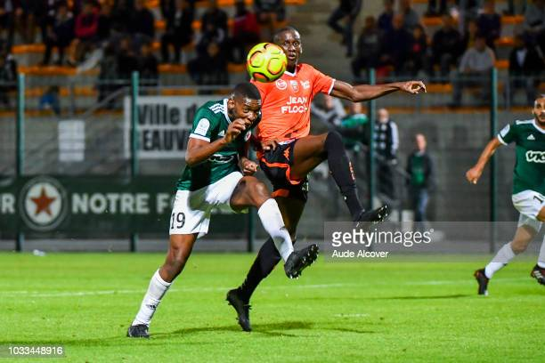 Formose Mendy of Red Star and Harouna Sy of Lorient during the French Ligue 2 match between Red star and Lorient at Stade Pierre Brisson on September...