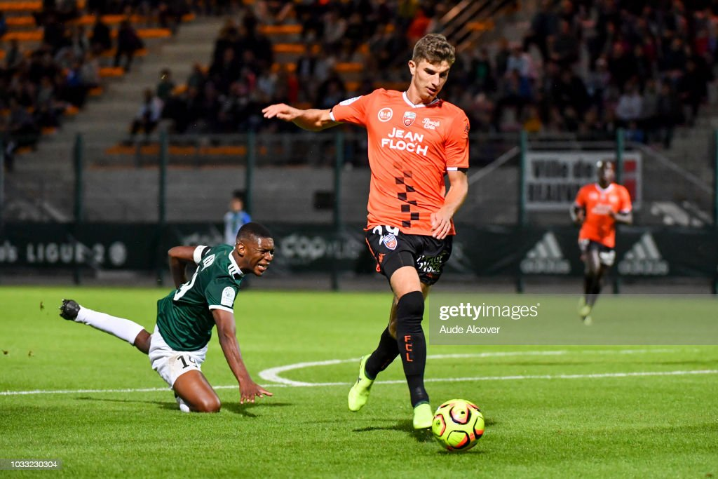 Formose Mendy of Red Star and Pierre Yves Hamel of Lorient who is about to score during the French Ligue 2 match between Red star and Lorient at Stade Pierre Brisson on September 14, 2018 in Beauvais, France.