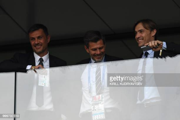 Formr Italian football player Paolo Maldini attends the Russia 2018 World Cup final football match between France and Croatia at the Luzhniki Stadium...
