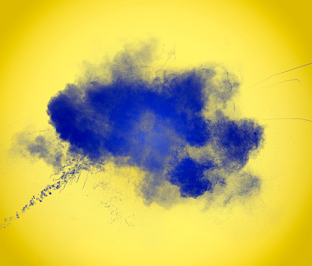 Forms and textures of an explosion of  powder in the form of a cloud of color white on a yellow background - gettyimageskorea