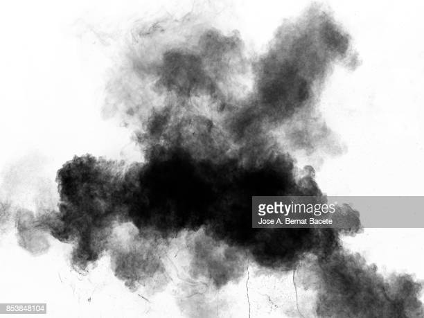 Forms and textures of an explosion of  powder in the form of a cloud of colors black and gray on a white background