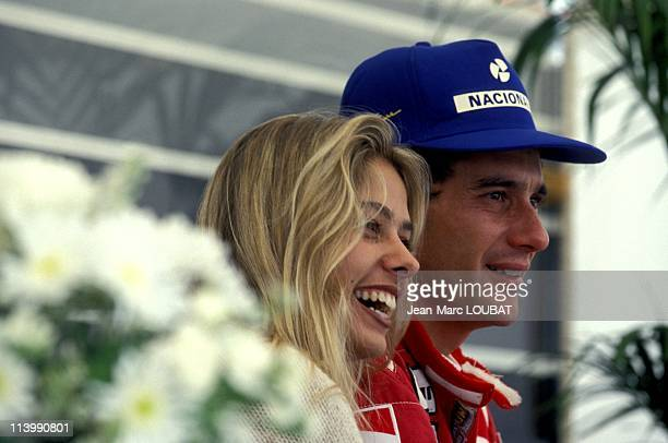 Formula 1 50th victory of Alain Prost at England Grand Prix in Silverstone United Kingdom on July 11 1993Ayrton Senna and Adriana