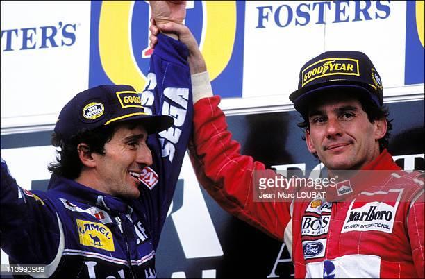 Formula 1 Australian Grand Prixvictory Ayrton Senna in Adelaide Australia on November 07 1993Alain Prost and Ayrton Senna