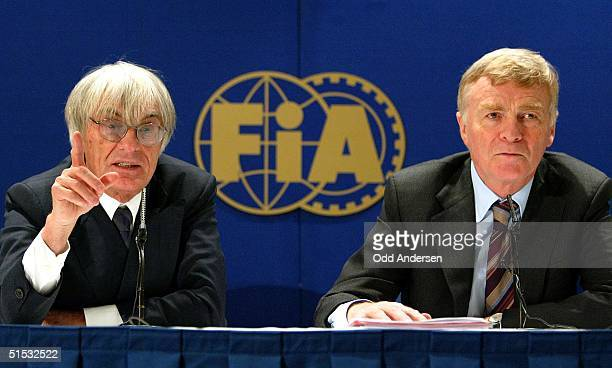 Formula 1 boss Bernie Ecclestone and FIA President Max Mosley addresses the media during a press conference in west London 28 October 2002.Formula 1...