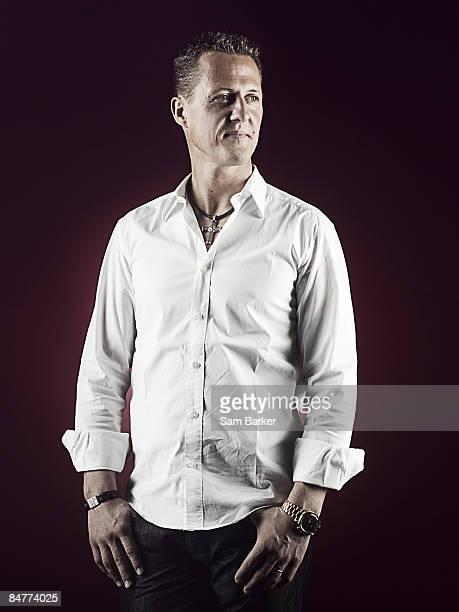 Formula 1 driver advisor to Ferrari Michael Schumacher poses for a portrait shoot for F1 magazine in London on October 7 2008