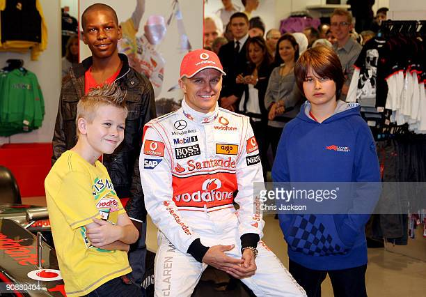 Formula 1 driver Heikki Kovalainen poses for a photograph as he launches his Grand Prix-themed boyswear range 'Living the Dream' produced exclusively...