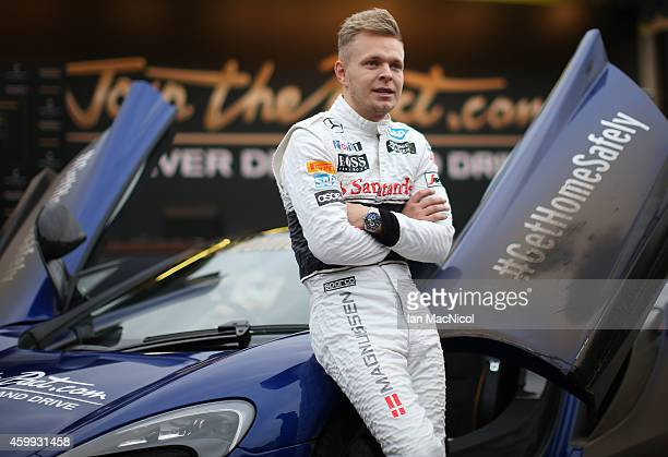 Formula 1 driver Kevin Magnussen of McLaren helps launch Johnnie Walker responsible drinking initiative 'Join the Pact ' for the festive season in...