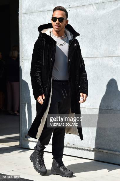 Formula 1 driver Lewis Hamilton arrives at the show Giorgio Armani during the Women's Spring/Summer 2018 fashion shows in Milan on September 22 2017...