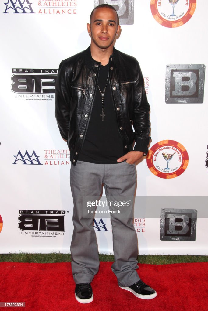 Formula 1 driver Lewis Hamilton attends the 8th annual BTE All-Star Celebrity Kickoff Party held at The Playboy Mansion on July 15, 2013 in Beverly Hills, California.