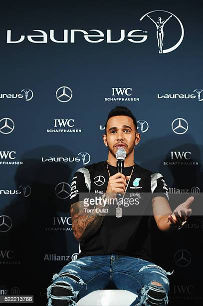 Formula 1 driver Lewis Hamilton of Great Britain and Mercedes is interviewed prior to the 2016 Laureus World Sports Awards at Messe Berlin on April...