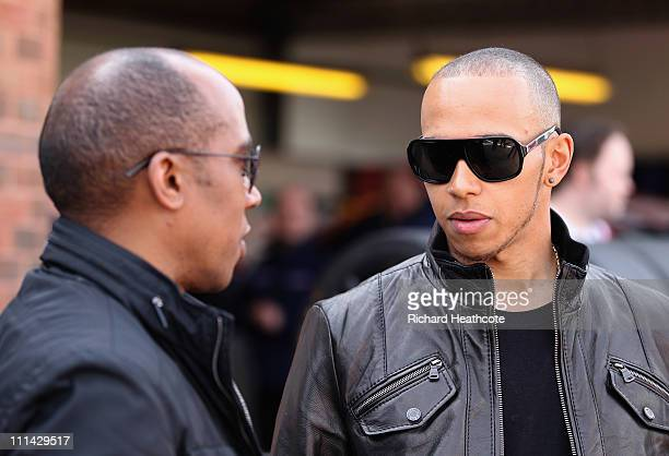 Formula 1 driver Lewis Hamilton with his father Anthony Hamilton at Brands Hatch to watch Lewis' brother Nic Hamilton in the Renault Clio Cup race at...