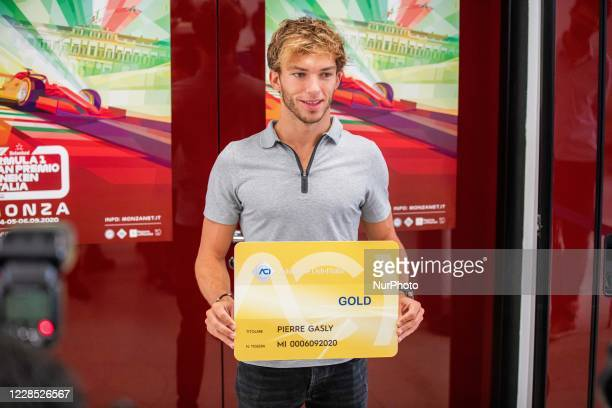 Formula 1 driver Pierre Gasly from AlphaTauri team receives honorary membership card by Automobile Club dItalia after his winning in Monza on...