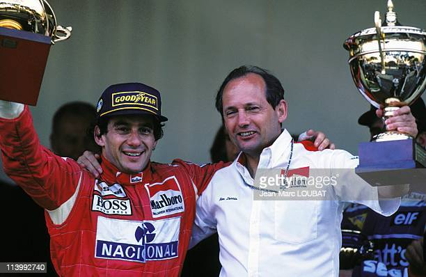 Formula 1 of Monaco Grand prix victory of Senna in Monaco Monaco on May 23 1993Ayrton Senna and Ron Dennis