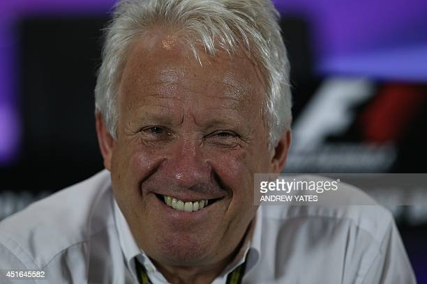 Formula 1 race director Charlie Whiting sits during a press conference at the Silverstone circuit in Silverstone on July 3 2014 ahead of the British...