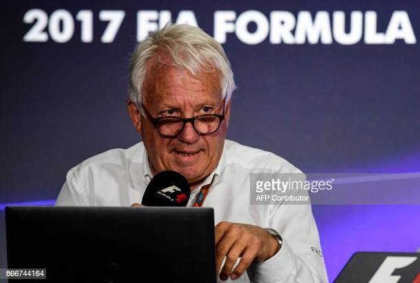 Formula 1 race director Charlie Whiting speaks during a press conference at the Autodromo Hermanos Rodriguez in Mexico City on October 26 2017 / AFP...