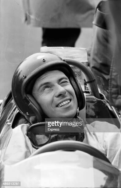Formula 1 racing driver Jim Clark in his car at Silverstone April 20th 1964