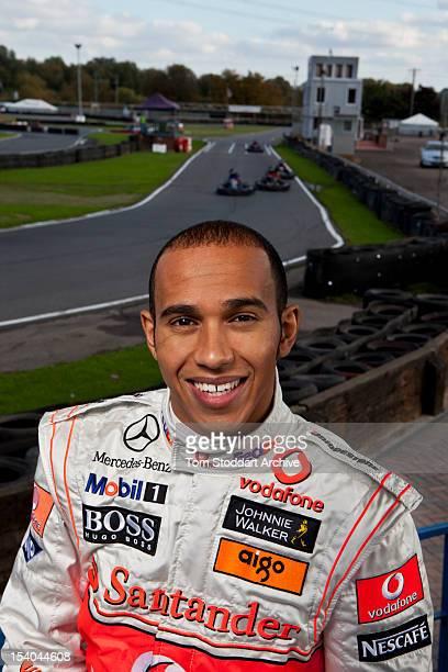Formula 1 racing driver Lewis Hamilton photographed at Rye House kart track at Hoddesdon Hertfordshire The 2008 Formula One World Champion began his...