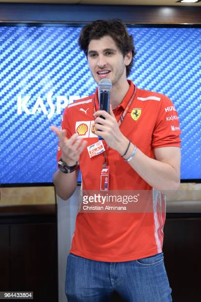 Formula 1 Third Driver for Scuderia Ferrari Antonio Giovinazzi attends the Kaspersky Lab Hospitality Yacht during the Monaco Grand Prix 2018...