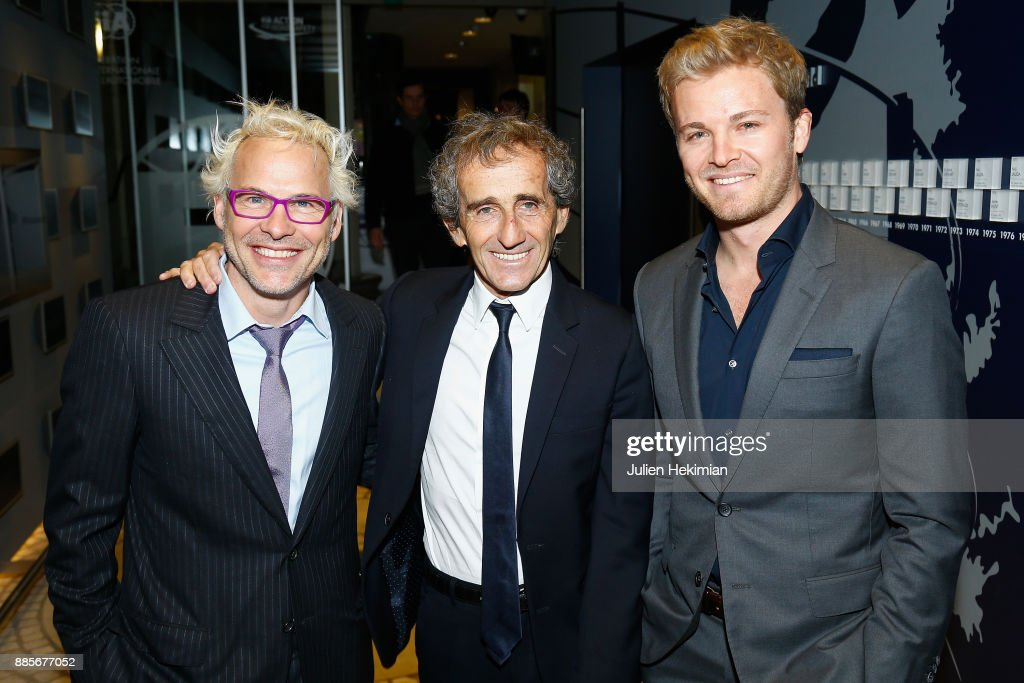Formula 1 Word Champions Nico Rosberg (R), Alain Prost (C) and Jacques Villeneuve (L) attend the FIA Hall of Fame Induction ceremony at Automobile Club De France on December 4, 2017 in Paris, France.