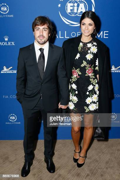Formula 1 World Champion Fernando Alonso and his companion Linda Morselli attend the FIA Hall of Fame Induction ceremony at Automobile Club De France...