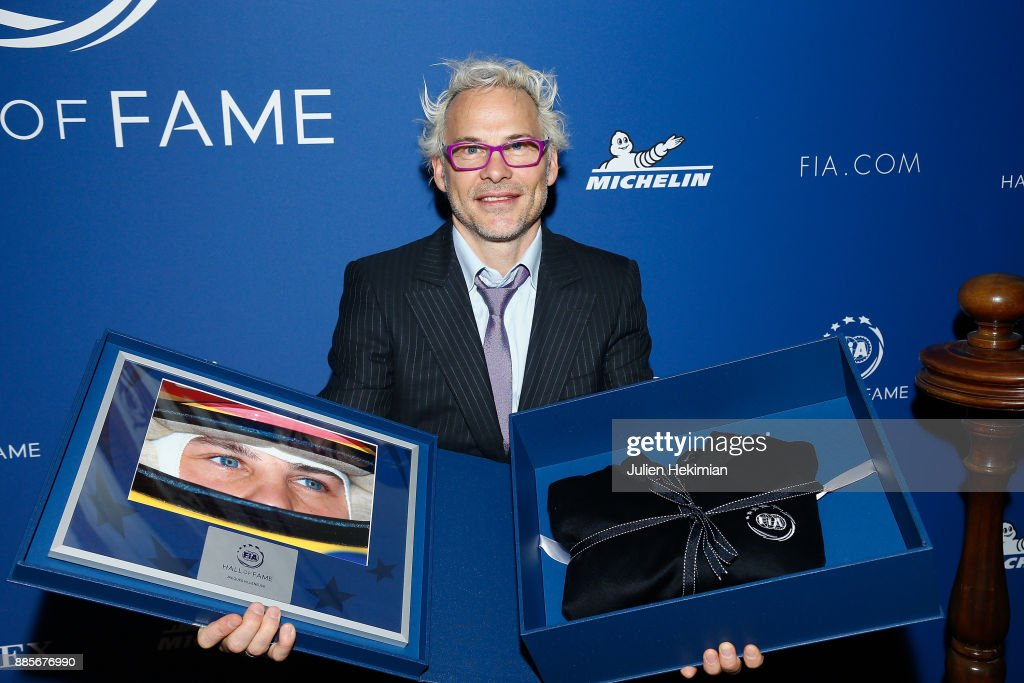 Formula 1 World Champion Jacques Villeneuve is pictured after being awarded during the FIA Hall of Fame Induction ceremony at Automobile Club De France on December 4, 2017 in Paris, France.