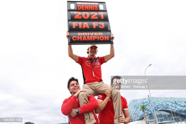 Formula 3 Champion Dennis Hauger of Norway and Prema Racing celebrates with his team after race 3 of Round 7:Sochi of the Formula 3 Championship at...
