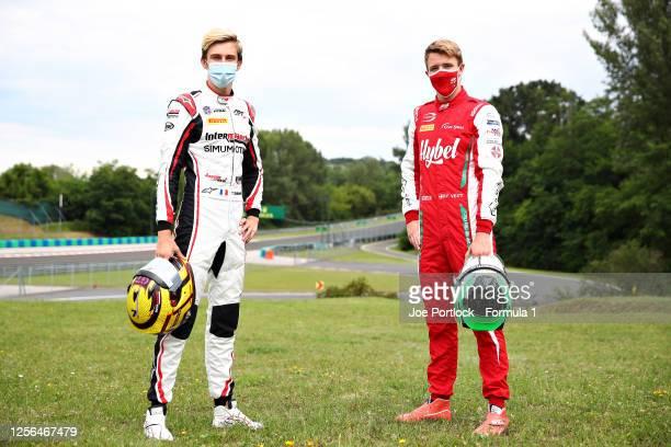 Formula 3 feature race winner in Styria, Frederik Vesti of Denmark and Prema Racing and Formula 3 sprint race winner in Styria, Theo Pourchaire of...