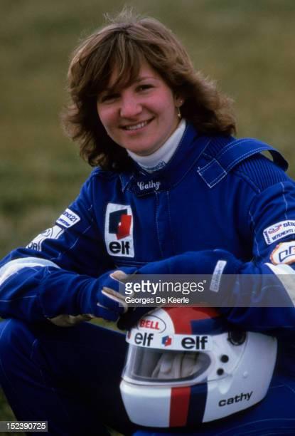 Formula 3 racing driver Cathy Muller in UK on April 1985.