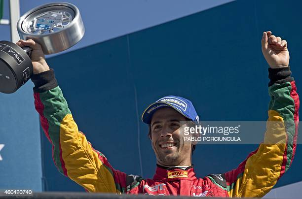 Formula E Audi Sport ABT's Brazilian driver Lucas Di Grassi celebrates after getting the third place in the Punta del Este Formula E Grand Prix race...