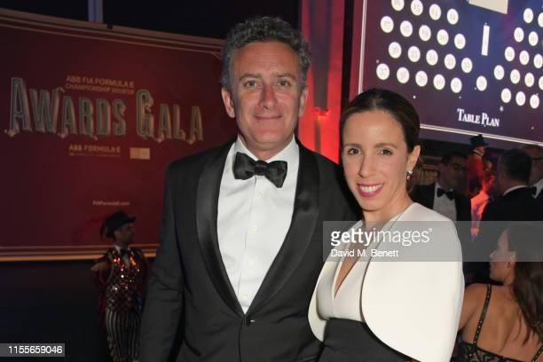Formula E CEO Alejandro Agag and Ana Aznar Botella attend the 2018/19 ABB FIA Formula E Championship Awards Dinner following the Formula E 2019 New...