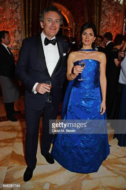 Formula E CEO Alejandro Agag and Virginia Raggi Mayor of Rome attend the ABB FIA Formula E Gala Dinner hosted by Bulgari at Villa Miani on April 14...