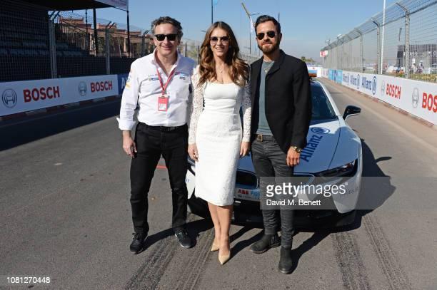 Formula E CEO Alejandro Agag Elizabeth Hurley and Justin Theroux attend the ABB FIA Formula E 2019 Marrakesh EPrix on January 12 2019 in Marrakesh...